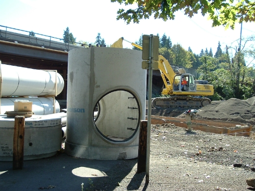 Ostrander Rock Installation in Vancouver, Washington. 1625 A•LOK X•CEL's 48'' PVC Pipe