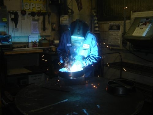 Welding in our Fabrication Shop